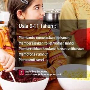 Pekerjaan Rumah Tangga untuk Anak Usia 9-11 Tahun