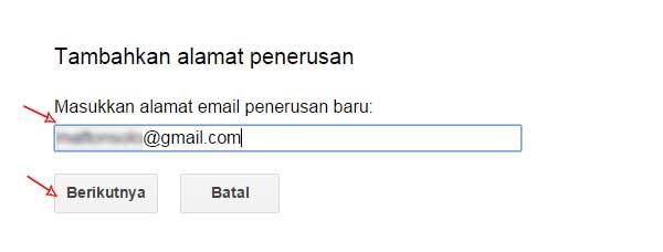 isi email tambahkan alamat penerusan