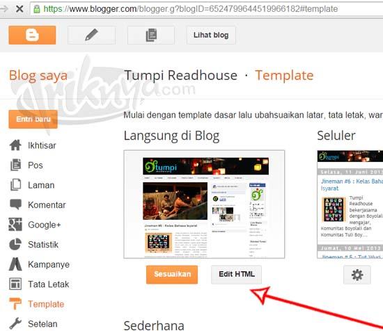 pilih menu edit html