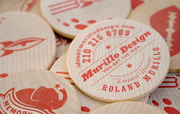 Kartu nama kayu berbentuk bulat – Murillo Design