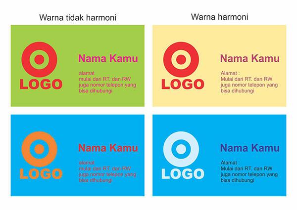 Contoh penggunaan warna dalam desain kartu nama