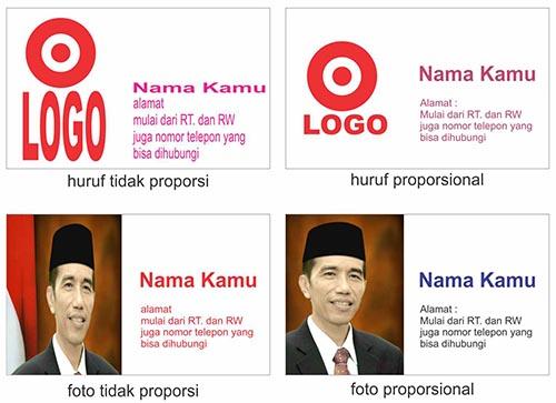 contoh proporsi dalam desain kartu nama