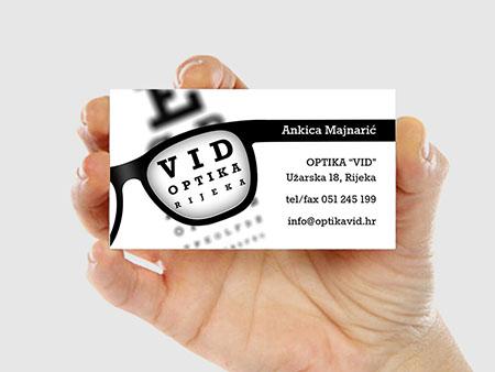 Desain kartu nama VID Optika