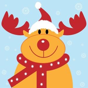 gambar rusa natal yang lucu