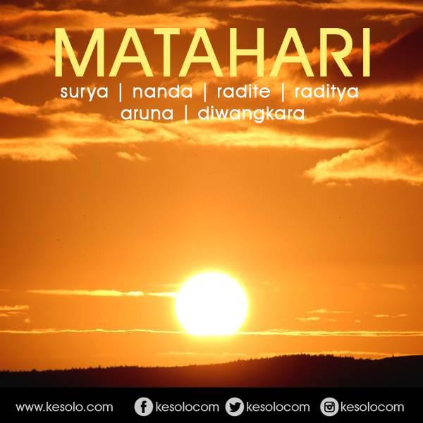 Dasanama atau nama lain jawa dari bagaskara MATAHARI