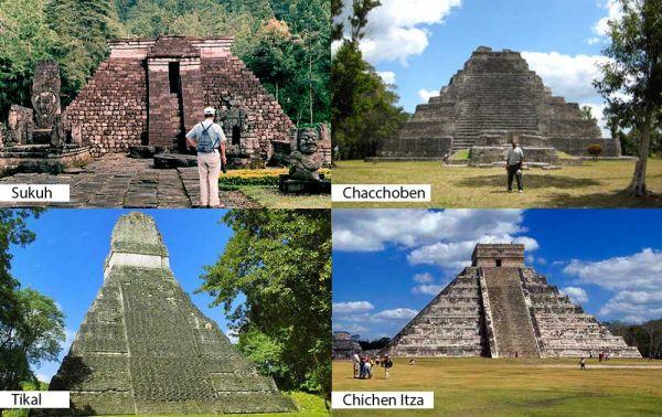 Candi Sukuh berbentuk piramida trapesium mirip dengan tiga situs peradaban Maya yakni Chichen Itza dan Chacchoben di Meksiko, serta Tikal di Guatemala.