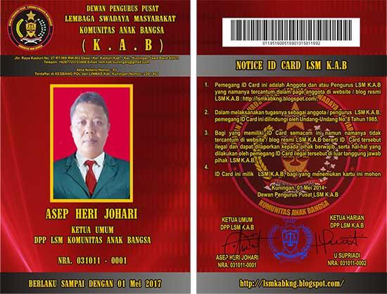 contoh ID Card untuk Kartu Tanda Anggota LSM/lsmkabkng.blogspot.com