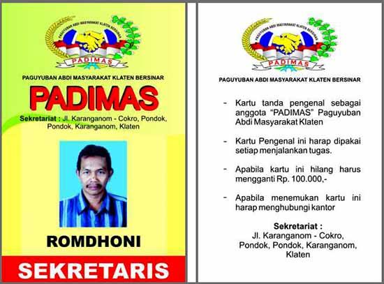contoh ID card paguyuban abdi masyarakat/pontianak.indonetwork.co.id