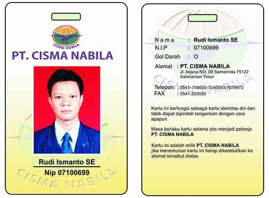 Contoh Id Card karyawan PT. Cisma Nabila/digippieadvertising.wordpress.com