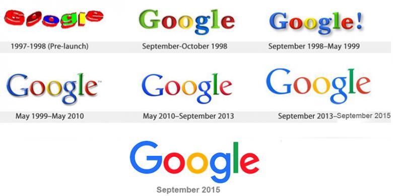 Desain logo Google dari masa-kemasa
