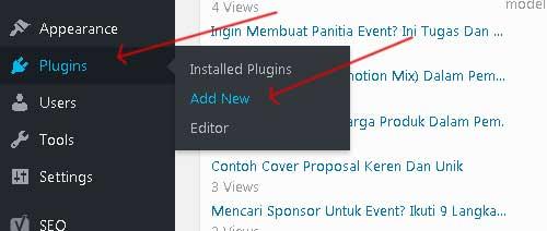 istal plugin wordpress melalui dashboard