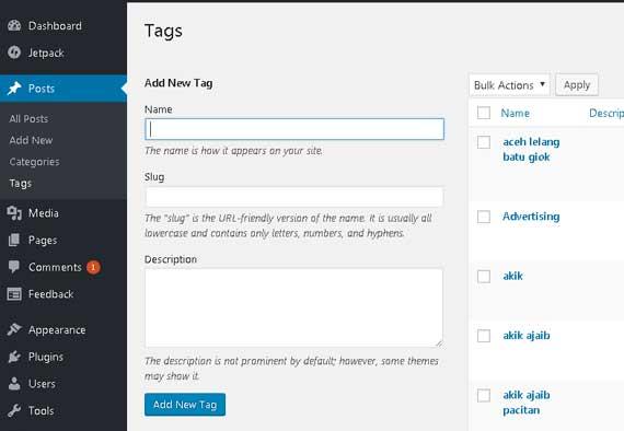 menambah tags pada wordpress