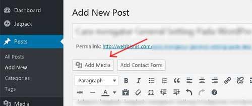 menambahkan gambar di postingan wordpress