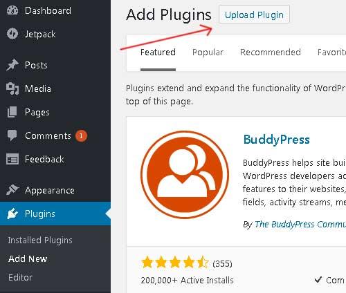 pilih file zib plugin wordpress lalu instal