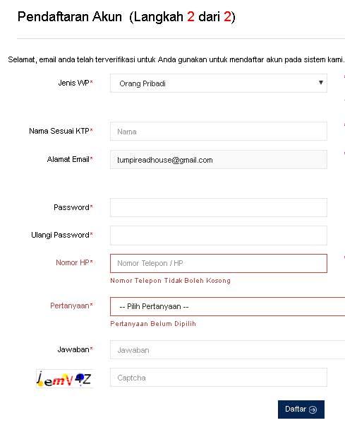 mengisi formulir yang telah tersedia saat mendaftar npwp online